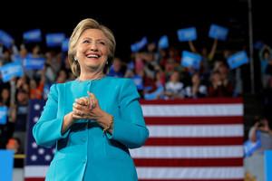 Hillary Clinton durante la campaña presidencial enCleveland.