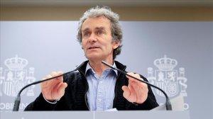 Fernando Simón, en una de sus comparecencias diarias en el ministerio de Sanidad para informar de la crisis del coronavirus.