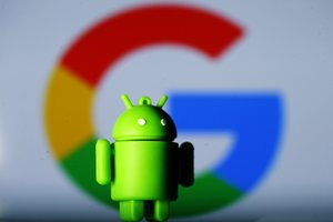 FILE PHOTO A 3D printed Android mascot Bugdroid is seen in front of a Google logo in this illustration taken July 9 2017 REUTERS Dado Ruvic Illustration File Photo