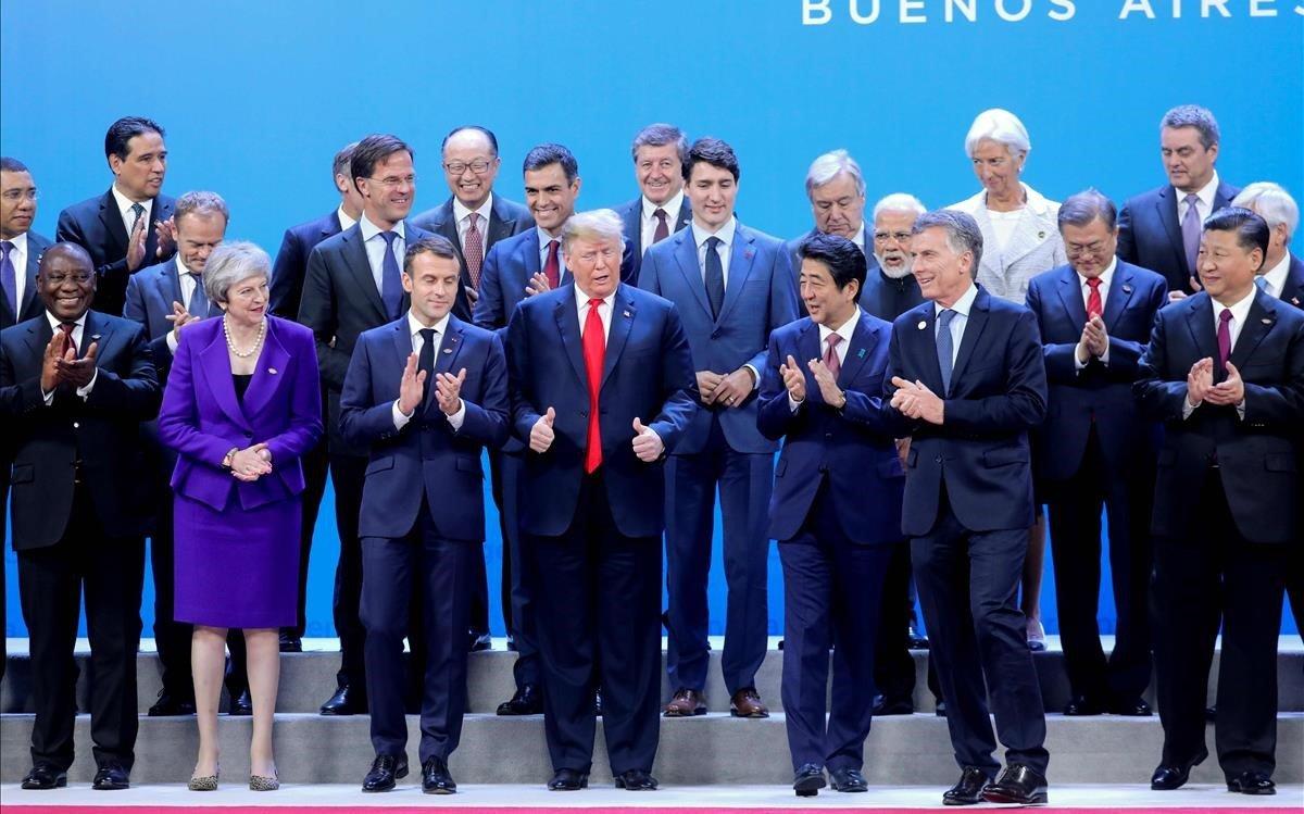 Foto de grupo de los líderes mundiales del G-20, en Buenos Aires.