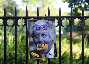 A poster depicting PM hopeful Boris Johnson hangs on a fence of the park opposite to his house in London, Britain June 22, 2019. REUTERS/Simon Dawson