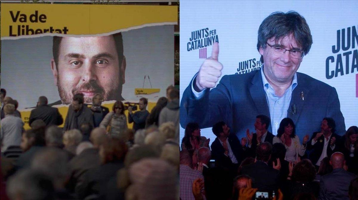 Imágenes de Oriol Junqueras y Carles Puigdemonten mítineselectorales.