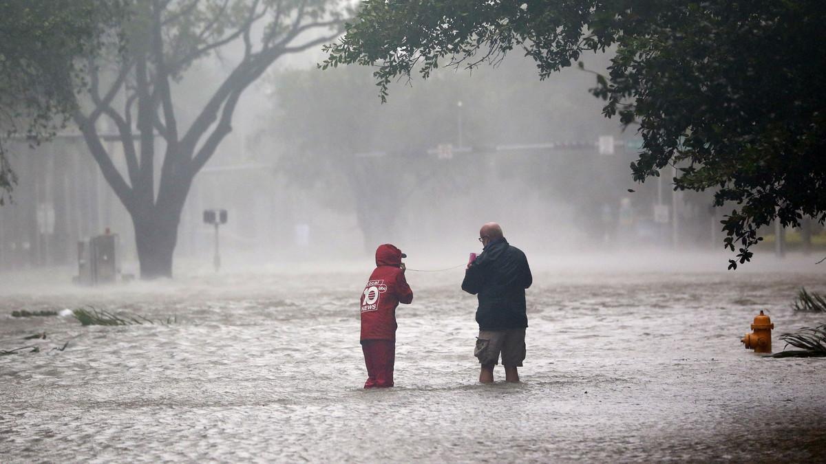 Inundaciones enBrickel, en Miami.