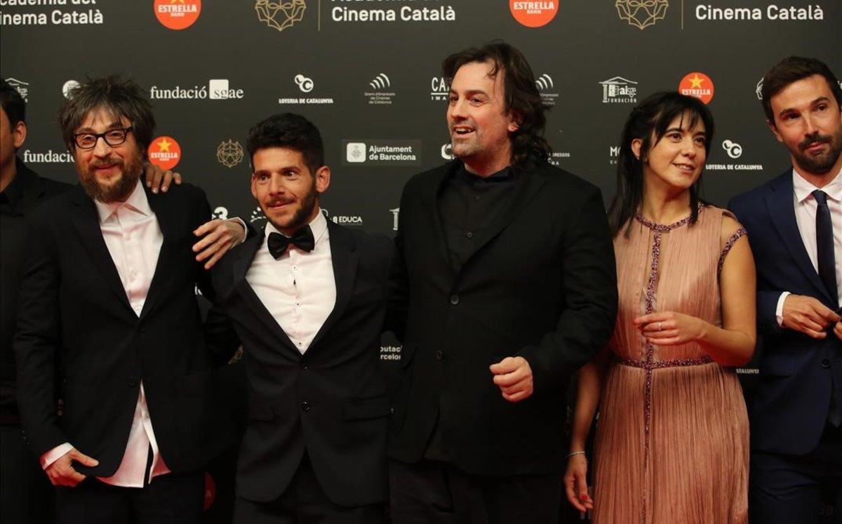 De izquierda a derecha, Refree, Isra Gómez, Isaki Lacuesta e Isa Campo, de 'Entre dos aguas'.