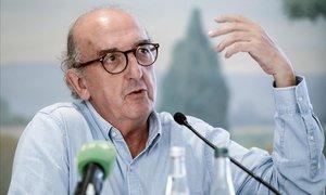 Jaume Roures, en una ruedade prensa en París (2018).