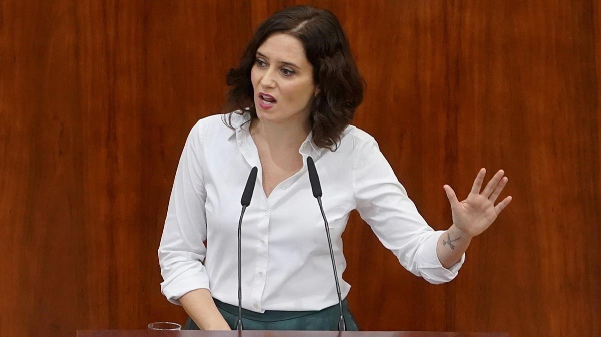 Isabel Díaz Ayuso durante el pleno de investidura.