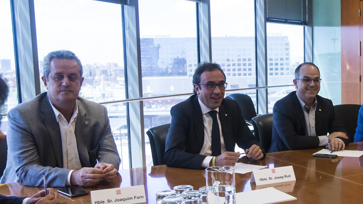 Joaquim Forn, Josep Rull y Jordi Turull, en una reunión en agosto del 2017.