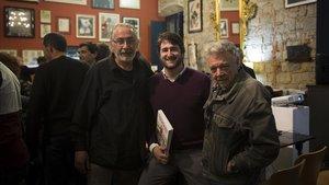 Joan Navarro, Aitor Marcet y Josep Maria Beà, en la presentación del libro Toutain, un editor adelantado a su tiempo.