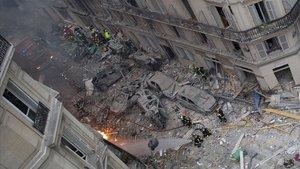 Vista general del lugar en el que tuvo lugar la explosión, en la calle de Trevise.