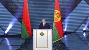 Lukashenko, durante su discurso a la nación en MInsk, este martes.