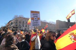 Manifestación contra la investidura de Pedro Sánchez, celebrada en Madrid.