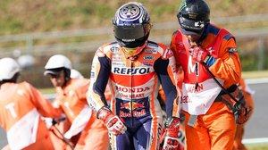 Marc Márquez (Honda) ha sufrido hoy, poco antes de la 'qualy' del GP de Japón, su caída nº 18 del Mundial.