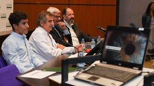 Marc Márquez, Josep María Campistol, Alfredo Adán y Josep María Pou, hoy, en el Clínic.
