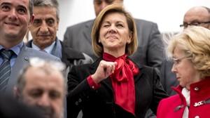 La ministra de Defensa, María Dolores de Cospedal, en un acto oficial en Santa Cruz de Retamar (Toledo).