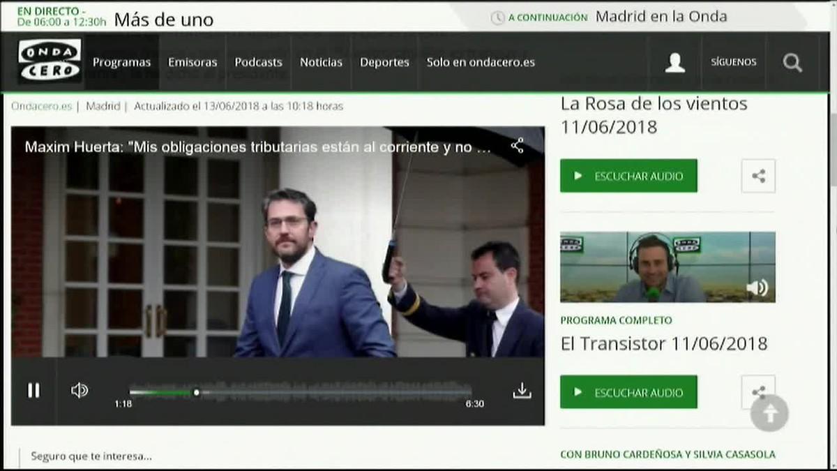 Màxim Huerta ha asegurado hoy que sus obligaciones tributarias están al corriente y que no tiene ninguna duda moral ni conflicto.