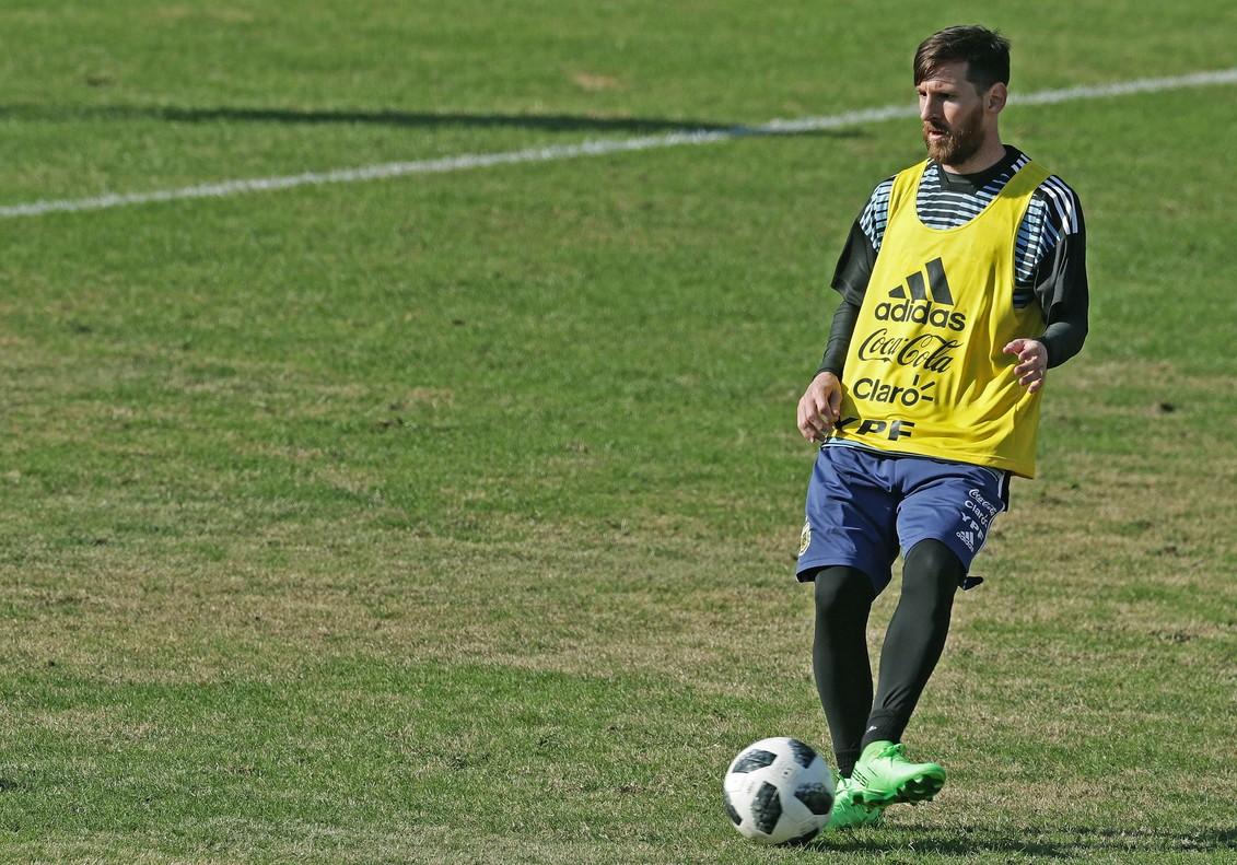 Leo Messi, durante el último entrenamiento público de Argentina.
