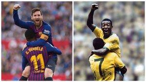 Messi celebra su segundo gol en el Pizjuán con Dembélé como Pelé lo hizo con Jairzinho en el Mundial-70.