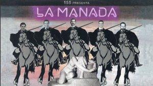 El mural La Manada, donde aparecen el rey Felipe VI, Pedro Sánchez, Pablo Casado, Albert Rivera y Santiago Abascal a caballo.