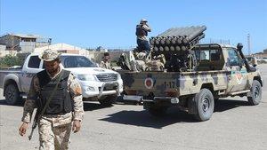 Imagen de archivo de combatientes libios.