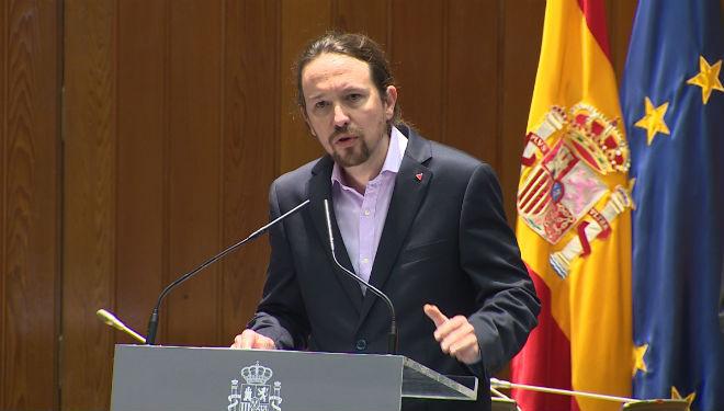Pablo Iglesias, durantela toma de posesión del cargo devicepresidente segundo.
