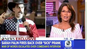 La polémica entre el humorista Sacha Baron Cohen y la política Sarah Palin es noticia de losprincipales informativos de EEUU.