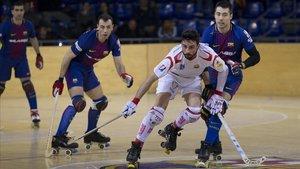 Un partido Barça-Reus Deportiu de hockey sobre patines.