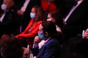 El vicepresidente segundo del Gobierno, Pablo Iglesias, durante la conferencia ofrecida por el presidente del Gobierno, Pedro Sánchez, bajo el título 'España puede. Recuperación, Transformación, Resiliencia' que sintetiza el espíritu colectivo al que el presidente invita a la unidad de la sociedad civil y de las instituciones ante la pandemia del Covid-19, en la Casa de América, en Madrid (España) a 31 de agosto de 2020.