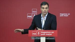 Pedro Sánchez, el pasado miércoles en la sede del PSOE.