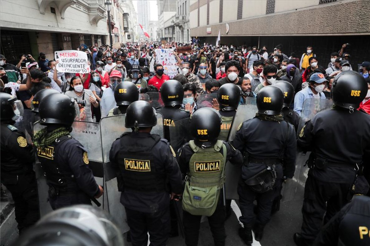 Protestas en Perú en contra del Gobierno.