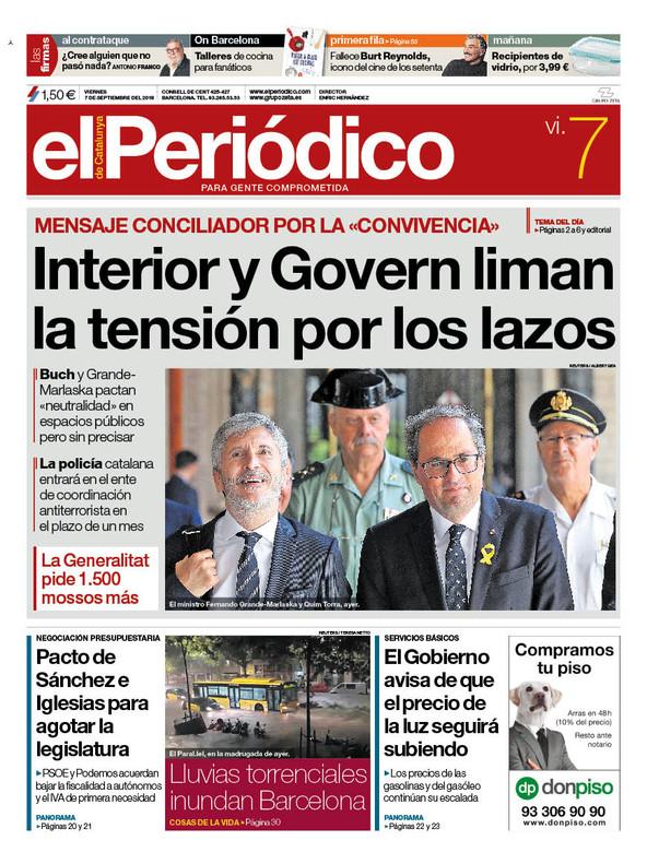 La portada de EL PERIÓDICO del 7 de septiembre del 2018