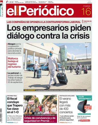 La portada de EL PERIÓDICO del 16 de junio del 2020