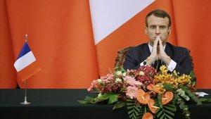El presidente francés, Emmanuel Macron, durante la rueda de prensa conjunta con su homólogo chino, Xi Jinping, esta semana, en Pekín.