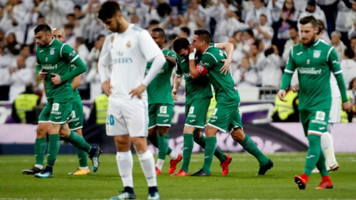 Los jugadores del Leganés celebran un gol en el Bernabeu en la Copa del Rey