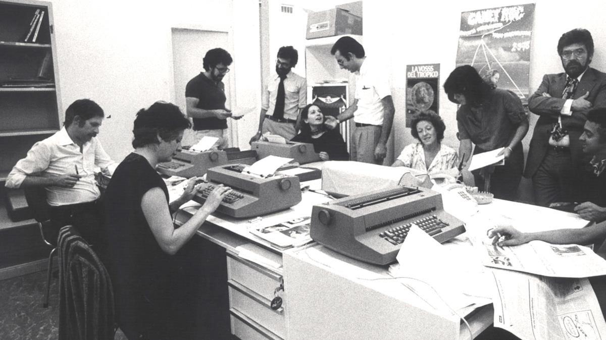 La redacción de El Periódico de Catalunya, en 1978.