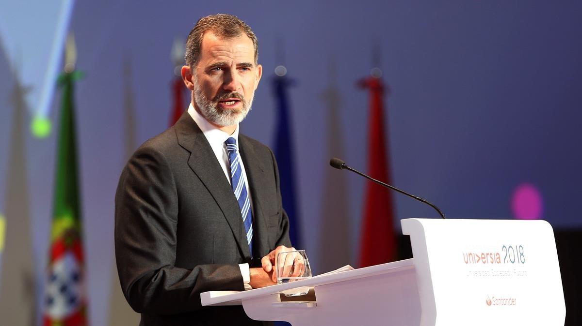 El rey Felipe VI,durante su intervención en el acto de inauguración del IV Encuentro Internacional de Rectores Universia, celebrado este lunes en Salamanca.