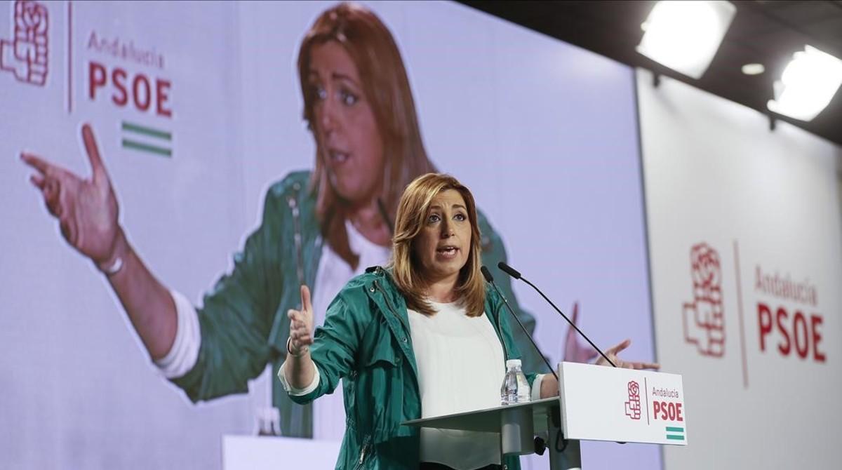 Susana Díaz, este sábado, durante el acto conmemorativo del Día de Andalucía organizado por el PSOE.