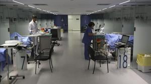Unidad de reanimación del Hospital Clínic.