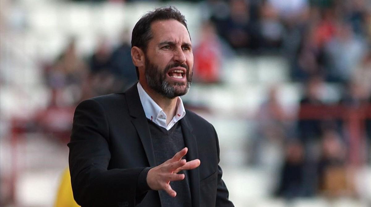 Vicente Moreno, durante la última victoria de su equipo ante el Numancia.