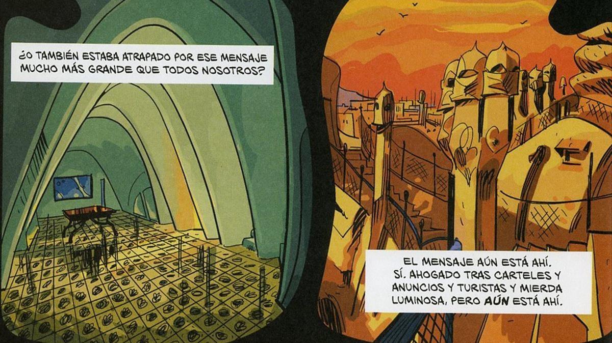 Viñetas de El fantasma de Gaudí.