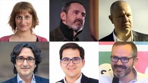 Los nuevos miembros de la Mesa del Parlament: Alba Vergés (arriba a la izquierda),Eusebi Campdepadrós, Joan García, David Pérez,José María Espejo-Saavedra y Josep Costa (abajo a la derecha).