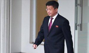 Kim Hyok Chol, tras la cumbre con Estados Unidos.