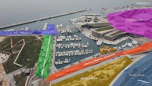 Infografía de los proyectos para la zona del Port Fòrum.