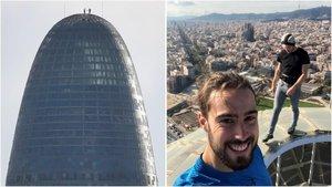 El 'selfi' de Mathieux y Urban en lo más alto de la torre Glòries, desde dos perspectivas