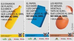 Tres de los carteles de la nueva campaña para que los ciudadanos separen mejor la basura.