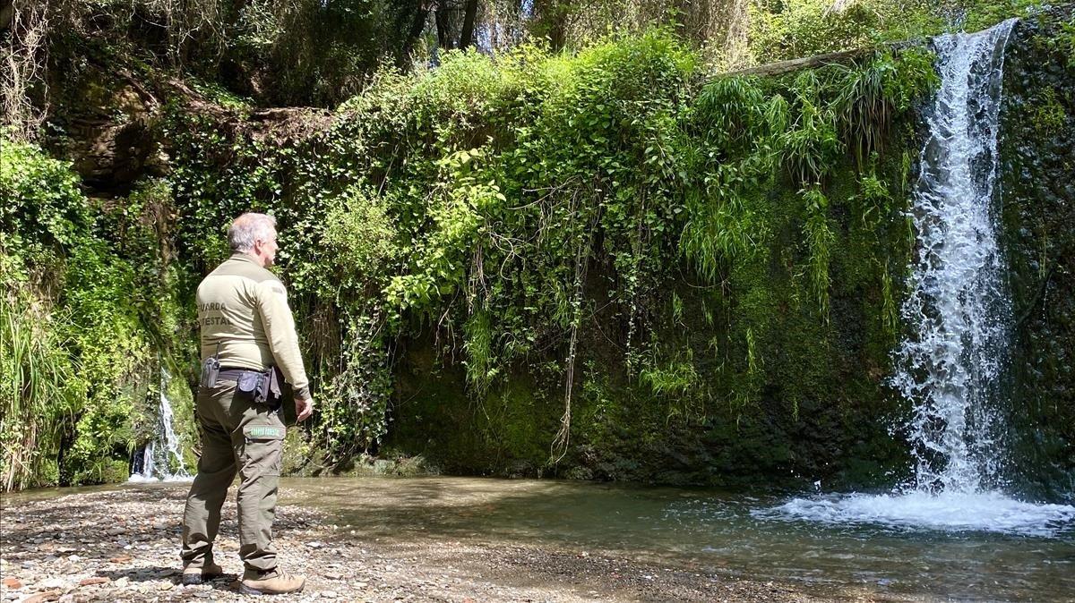 Jordi Piera, frente al salto de agua de Can Planes, en territorio de Molins de Rei, el pasado miércoles.