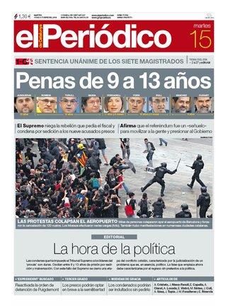 La portada d'EL PERIÓDICO del 15 d'octubre del 2019