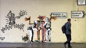 ealos40176105 obra de banksy para promover la exposicin de jean michel ba170919102303