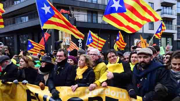 Ambient de la manifestació a Brussel·les