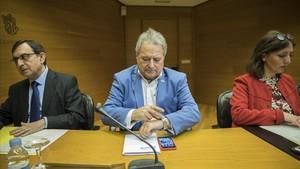 Alfonso Rus, este jueves, en la comisión de investigación de las Corts valencianas.