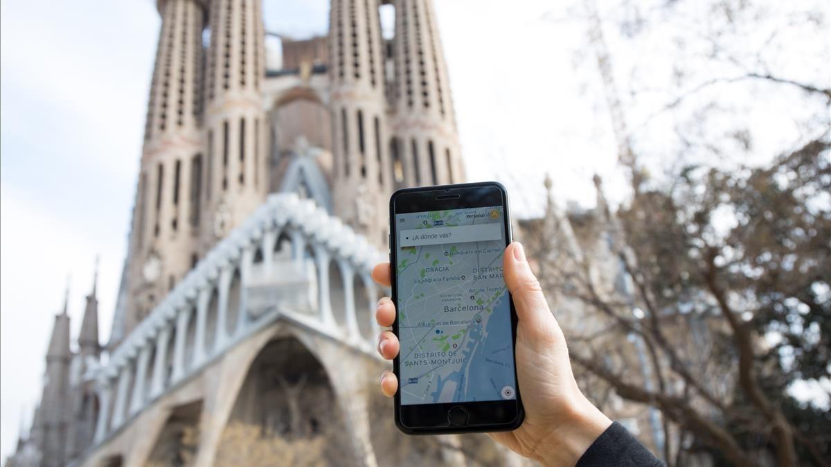 Aplicación de Uber en Barcelona.